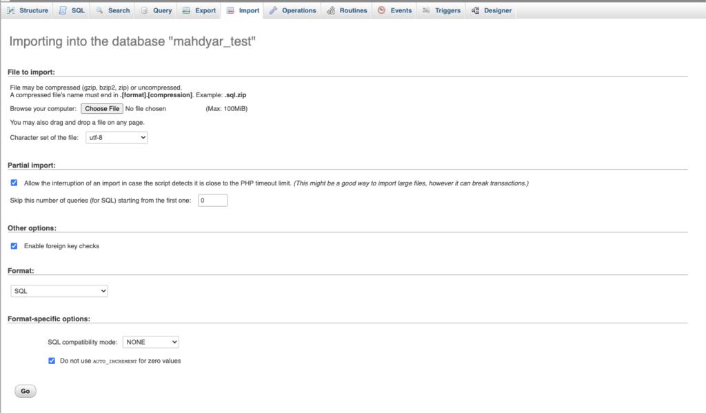 ایمپورت فایل .sql در phpmyadmin